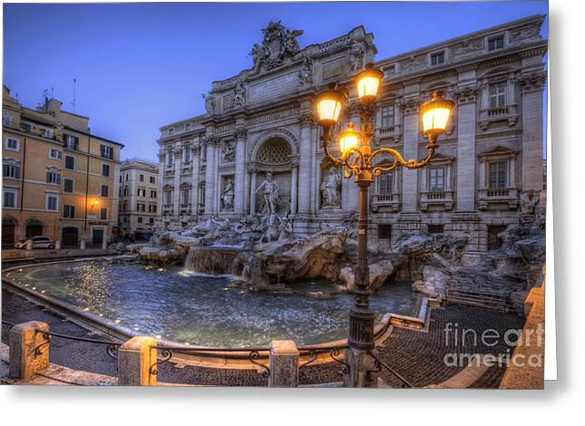 Roman Statue Greeting Cards - Fontana di Trevi 3.0 Greeting Card by Yhun Suarez