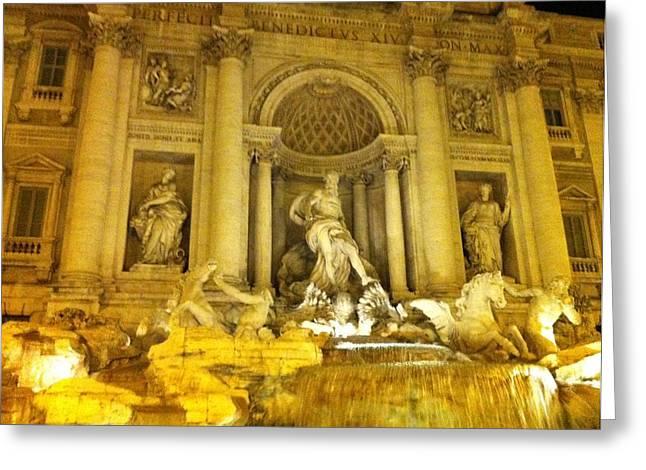 Rome Sculptures Greeting Cards - Fontana Di Trevi Greeting Card by Alex constantin Petrescu