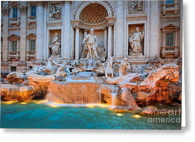 Italian Mediterranean Art Greeting Cards - Fontana di Trevi Greeting Card by Inge Johnsson