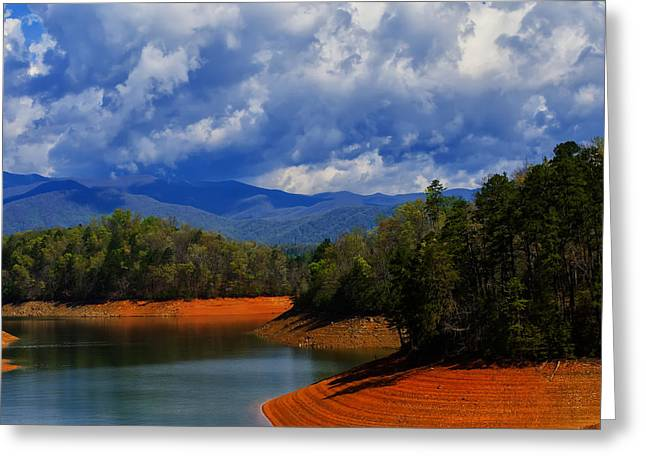 Landscape Pictures Greeting Cards - Fontana lake storm Greeting Card by Chris Flees