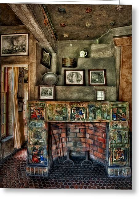 Byzantine Greeting Cards - Fonthill Castle Bedroom Fireplace Greeting Card by Susan Candelario