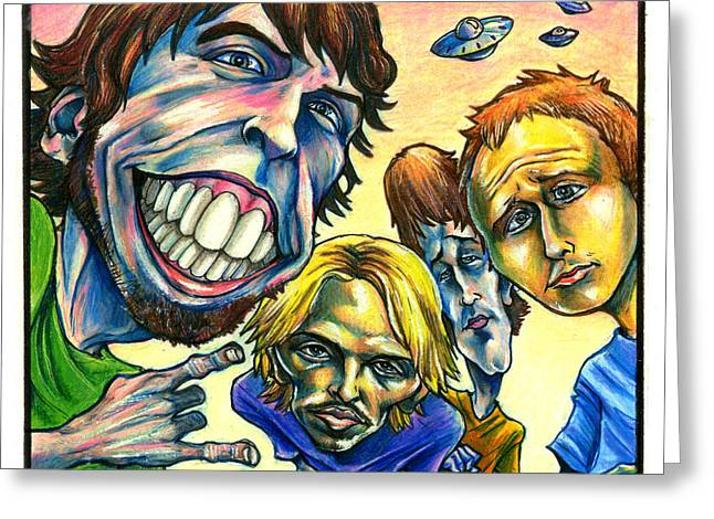 Caricatures Greeting Cards - Foo Fighters Greeting Card by John Ashton Golden