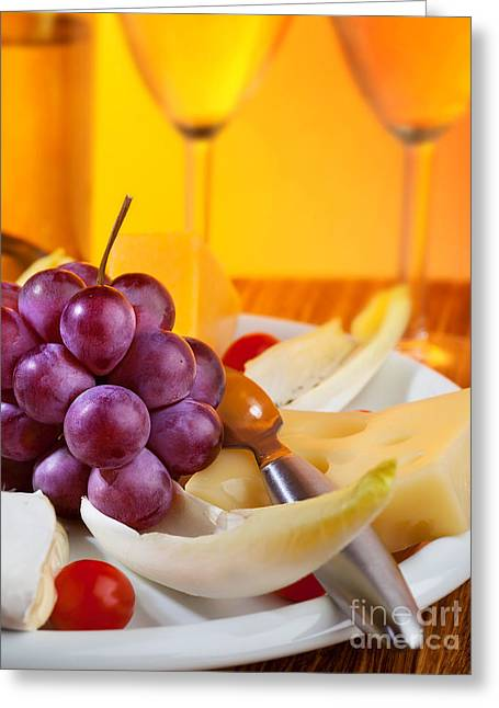 Still; Life; Still-life; Glass; Champagne; Alcohol; Alcoholic; Drink; Drinks; Beverage; Beverages; Fruit; Peach; Plum; Peaches; Plum; Bunch; Grapes; Bunch Of Grapes; Marble; Ledge; Baroque; Dutch Greeting Cards - Food and beverage still life Greeting Card by Anna Omelchenko
