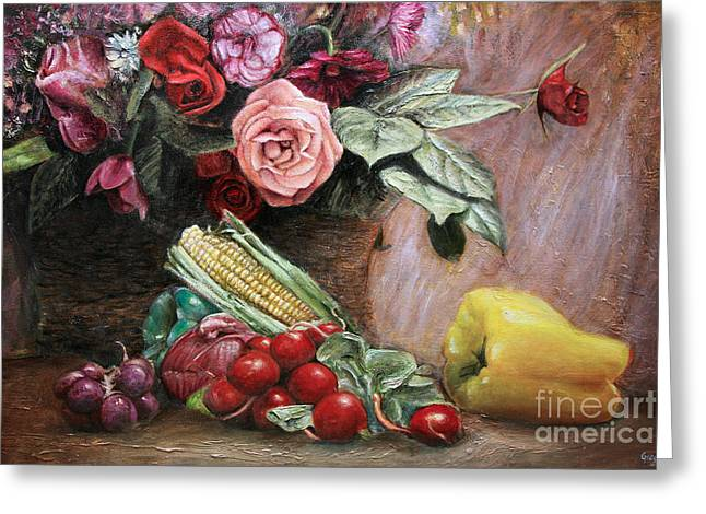 Kinkade Greeting Cards - Food and Flowers Greeting Card by Greg  Alexander