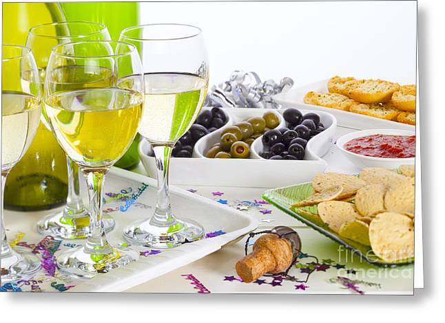 Champagne Glasses Greeting Cards - Food and Wine on a Buffet Table Greeting Card by Colin and Linda McKie