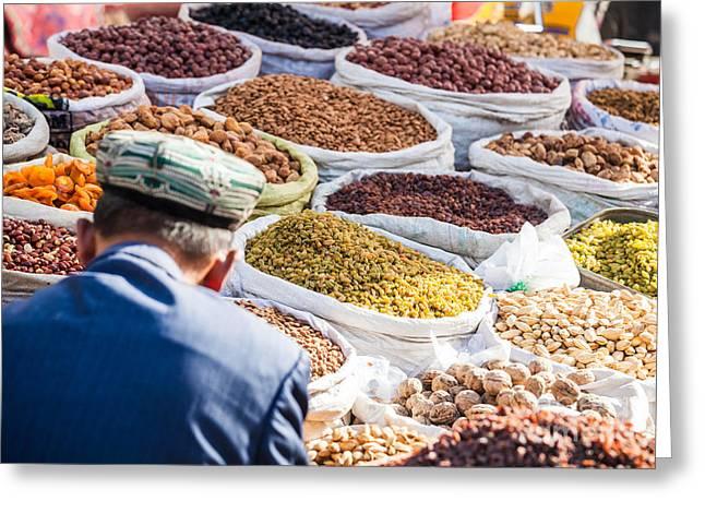 Local Food Photographs Greeting Cards - Food at local bazaar - Kashgar - China Greeting Card by Matteo Colombo