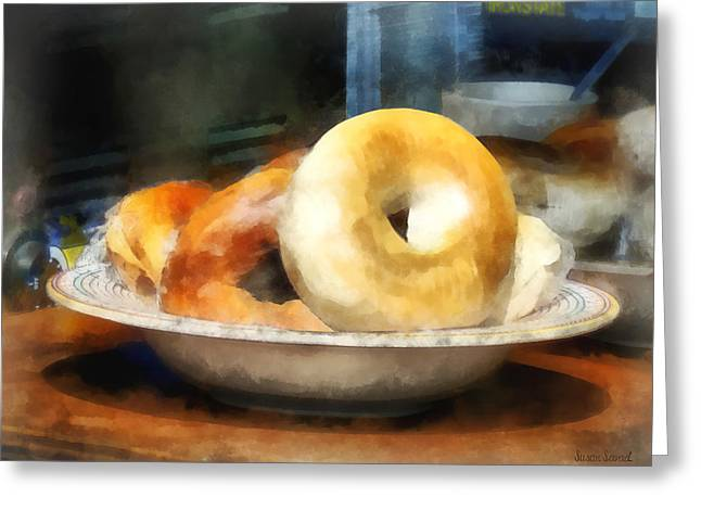 Bread Greeting Cards - Food - Bagels for Sale Greeting Card by Susan Savad