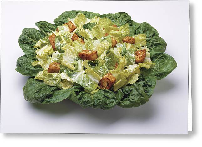 Salad Dressing Greeting Cards - Food - Caesar Salad Prepared Greeting Card by Ed Young