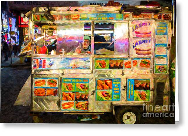 Hot Dogs Greeting Cards - Food Cart in New York City Greeting Card by Diane Diederich