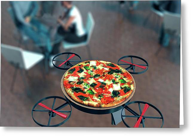 Food Delivery Drone Greeting Card by Christian Darkin