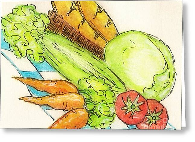 Loaf Of Bread Mixed Media Greeting Cards - Food Illustration Veggies Greeting Card by MarLa Hoover