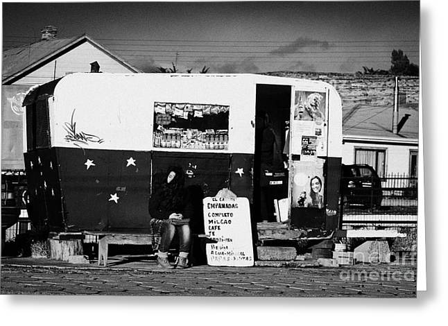 Local Food Greeting Cards - food kiosk for local people in small caravan in Punta Arenas Chile Greeting Card by Joe Fox