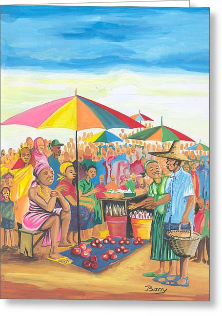Emmanuel Baliyanga Greeting Cards - Food Market in Cameroon Greeting Card by Emmanuel Baliyanga