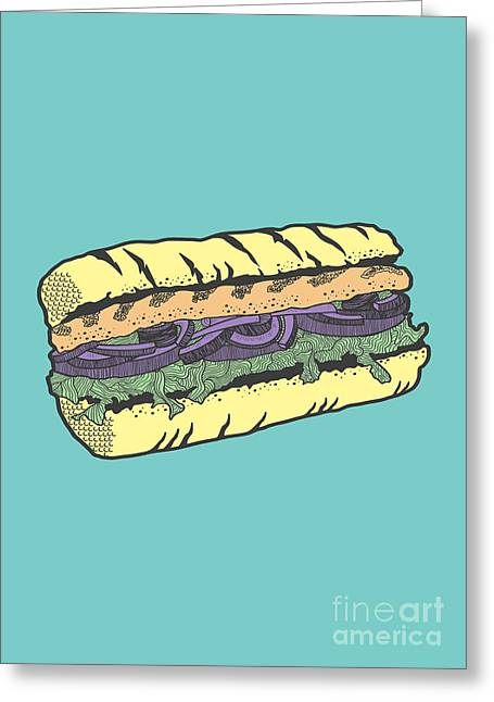 Burger Greeting Cards - Food masquerade Greeting Card by Freshinkstain