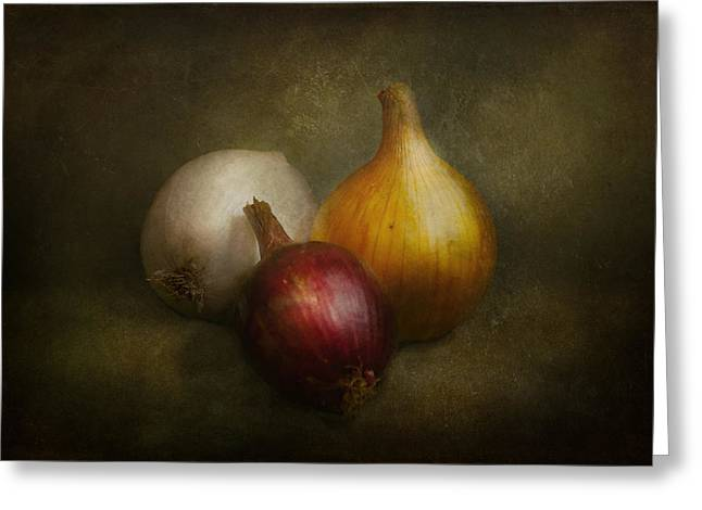 Vegetables Greeting Cards - Food - Onions - Onions  Greeting Card by Mike Savad