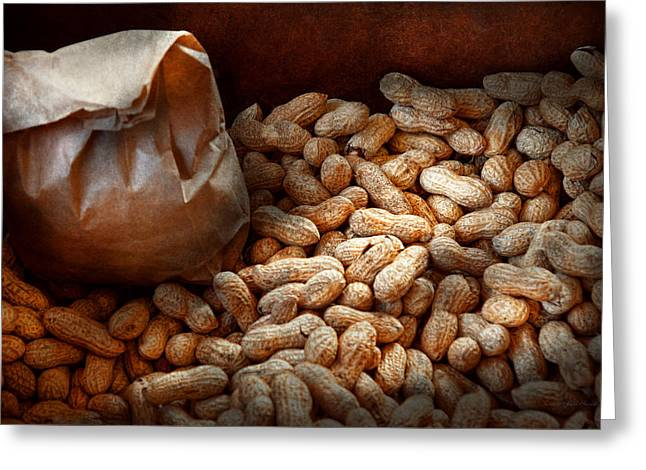 Brown Paper Bag Greeting Cards - Food - Peanuts  Greeting Card by Mike Savad