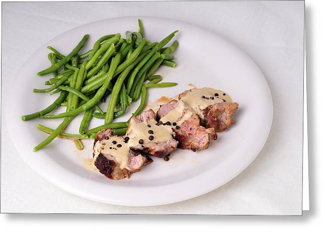 Green Beans Greeting Cards - Food - Pork filet with green beans Greeting Card by Matthias Hauser