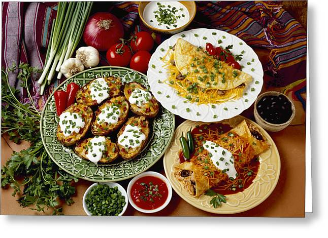 Flavorful Greeting Cards - Food - Prepared Dishes Garnished Greeting Card by Ed Young