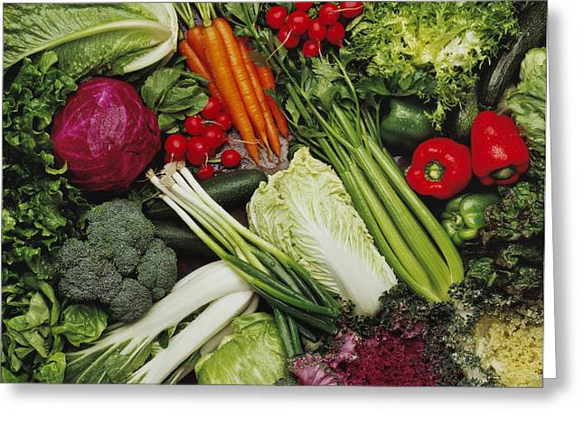 Broccoli Greeting Cards - Food- Produce, Mixed Vegetables Greeting Card by Ed Young