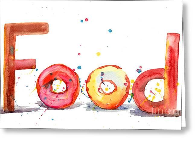 Donuts Paintings Greeting Cards - Food Greeting Card by Regina Jershova