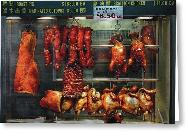 Window Display Greeting Cards - Food - Roast meat for sale Greeting Card by Mike Savad