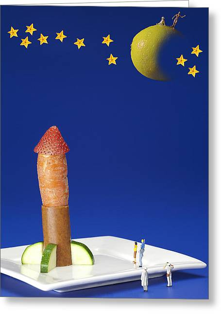 Creative People Greeting Cards - Food rocket exploring moon and stars food physics Greeting Card by Paul Ge