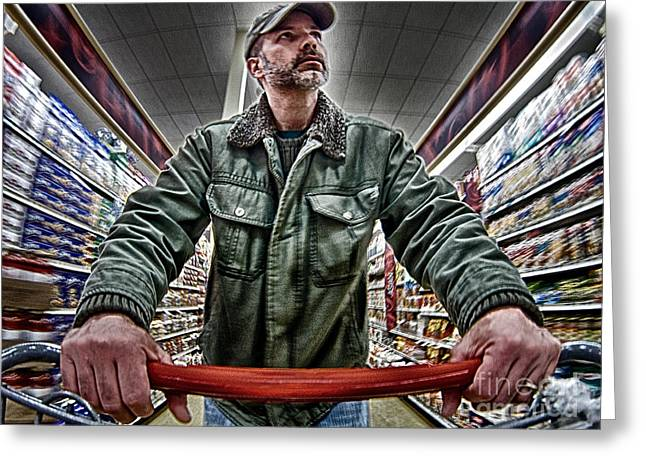Self-portrait Greeting Cards - Food Shopping Greeting Card by Mark Miller
