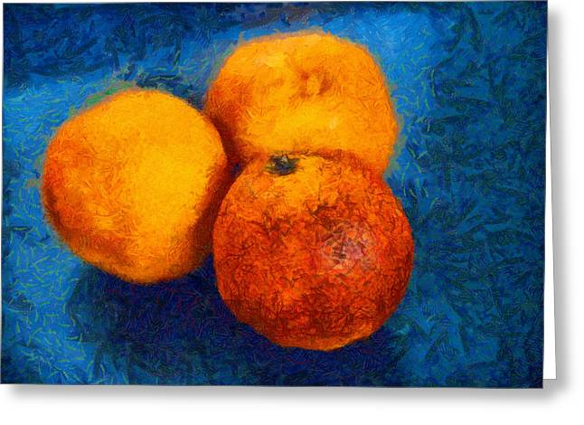 Light And Dark Greeting Cards - Food still life - three oranges on blue - digital painting Greeting Card by Matthias Hauser