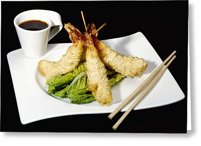 Chilies Greeting Cards - Food - Tempura Prawns And Ponzu Dip Greeting Card by Ed Young