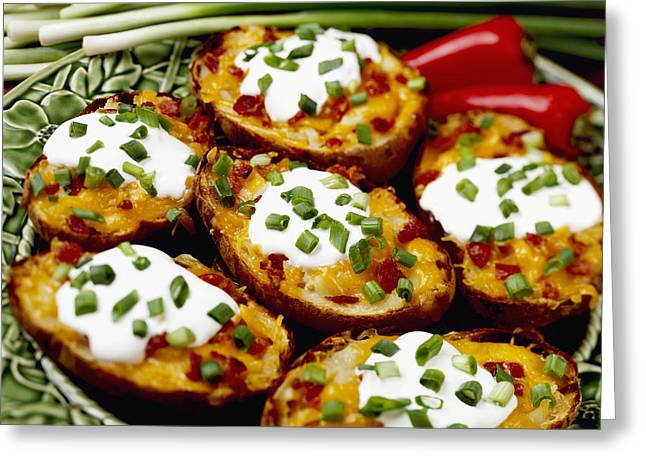 Flavorful Greeting Cards - Food - Twice-baked Potatoes With Bacon Greeting Card by Ed Young