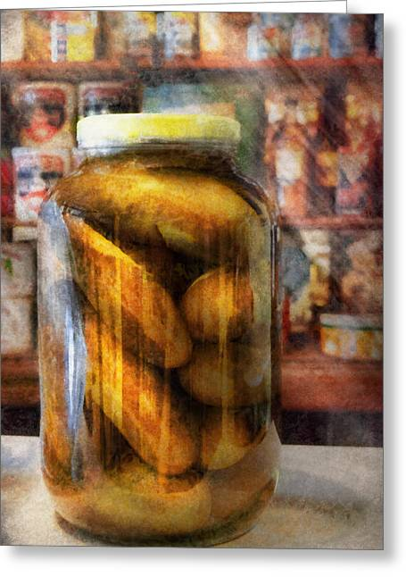 Deli Greeting Cards - Food - Vegetable - A jar of pickles Greeting Card by Mike Savad