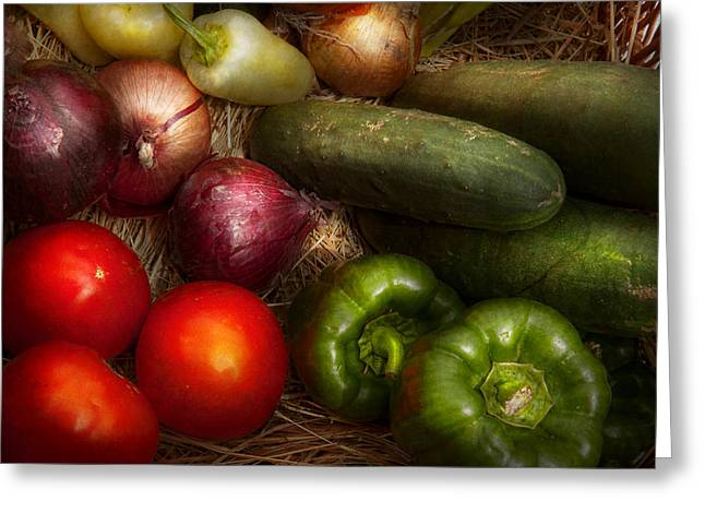 Food - Vegetables - Onions Tomatoes Peppers and Cucumbers Greeting Card by Mike Savad