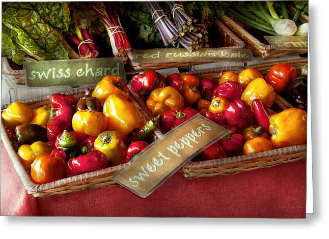Food - Vegetables - Sweet peppers for sale Greeting Card by Mike Savad