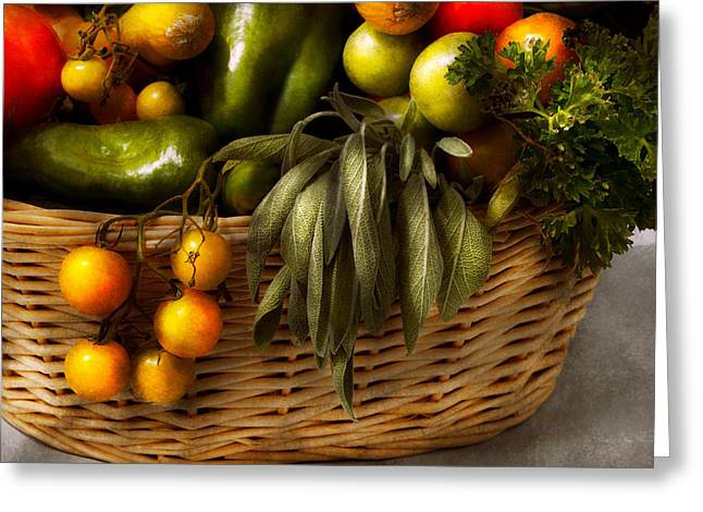Vegetable Basket Greeting Cards - Food - Veggie - Sage advice  Greeting Card by Mike Savad