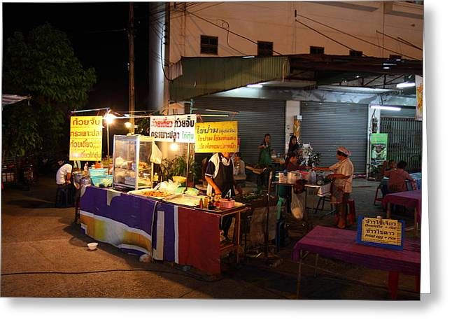 Merchant Greeting Cards - Food Vendors - Night Street Market - Chiang Mai Thailand - 011315 Greeting Card by DC Photographer