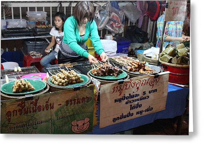 Food Vendors - Night Street Market - Chiang Mai Thailand - 01134 Greeting Card by DC Photographer