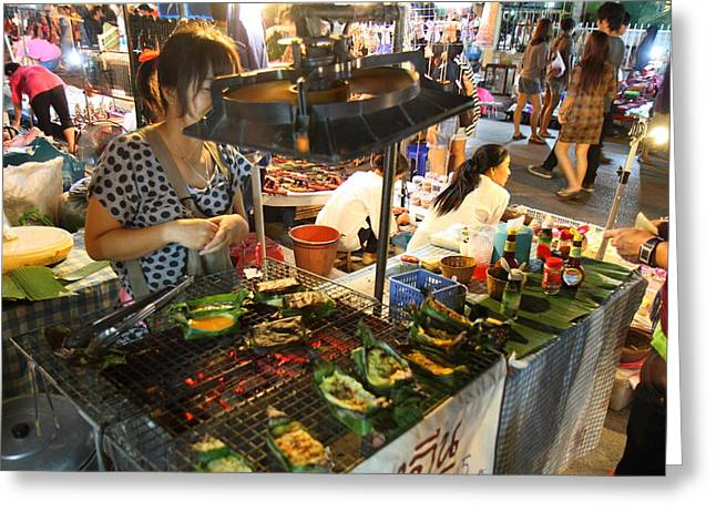 Seller Greeting Cards - Food Vendors - Night Street Market - Chiang Mai Thailand - 01135 Greeting Card by DC Photographer