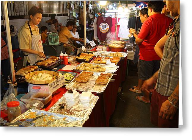 Street Photographs Greeting Cards - Food Vendors - Night Street Market - Chiang Mai Thailand - 01136 Greeting Card by DC Photographer