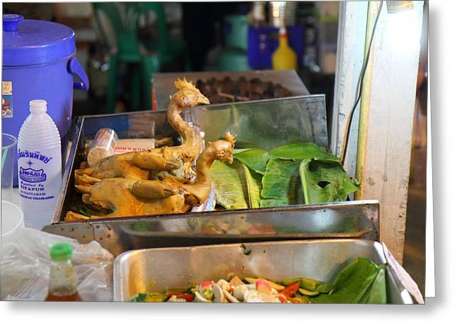 Merchant Greeting Cards - Food Vendors - Night Street Market - Chiang Mai Thailand - 01139 Greeting Card by DC Photographer