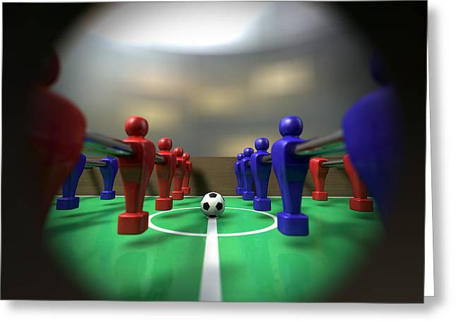 Foosball Table Through A Peephole Greeting Card by Allan Swart