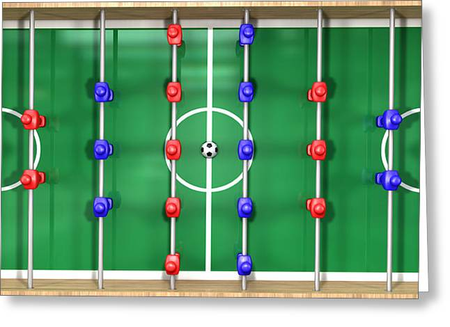 Tabletop Digital Art Greeting Cards - Foosball Table Top View Greeting Card by Allan Swart