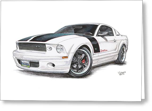 Chipped Greeting Cards - Foose Mustang Greeting Card by Shannon Watts