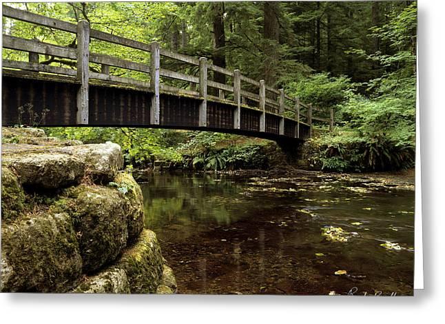 Crossover Greeting Cards - Foot Bridge at Silver Falls Greeting Card by Randy Bradley