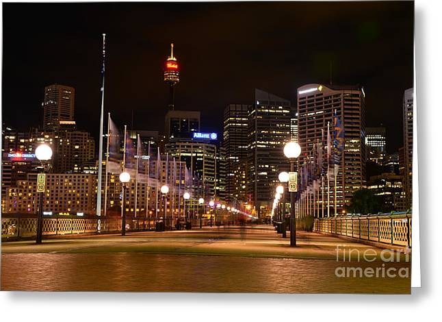 Darling Harbour Greeting Cards - Foot Bridge by Night Greeting Card by Kaye Menner