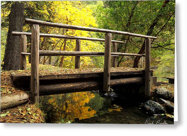 Crossover Greeting Cards - Foot Bridge in Autumn Greeting Card by Randy Bradley
