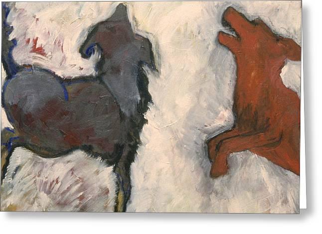 Dog At Play Greeting Cards - Foot Loose  Greeting Card by Barbara J Hart