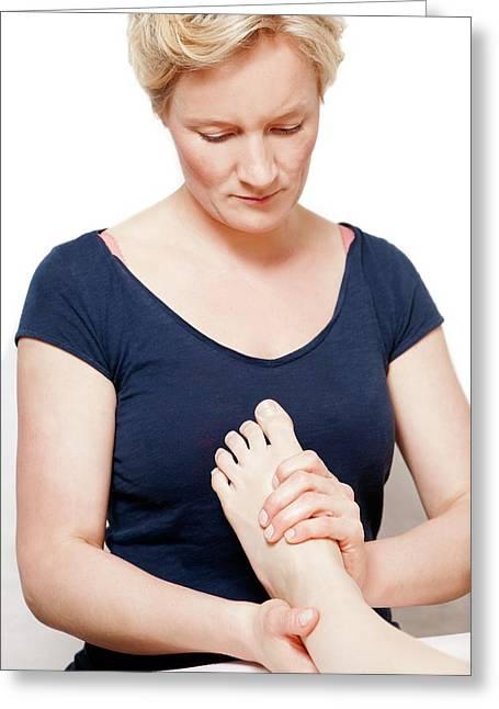 Foot Massage Greeting Card by Thomas Fredberg