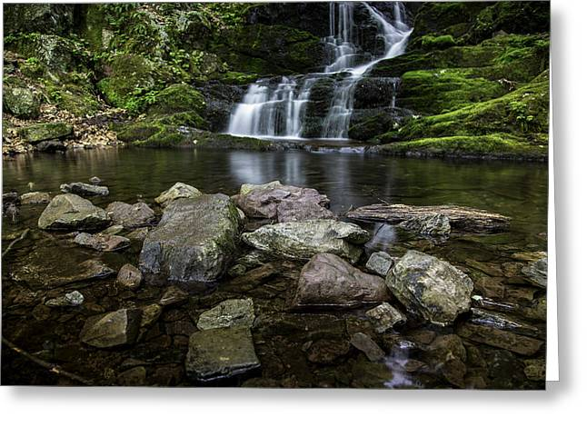 Buttermilk Falls Greeting Cards - Foot of the Falls Greeting Card by Sara Hudock