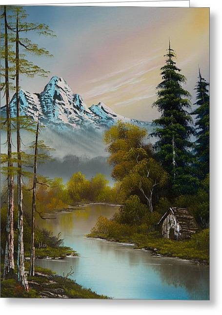 Bob Ross Paintings Greeting Cards - Mountain Sanctuary Greeting Card by C Steele