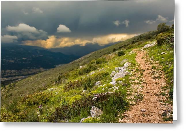 Newsom Greeting Cards - Foot path into the French Alps Greeting Card by Nila Newsom